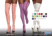 Rhianna Perforated Boots Fatpack April 2018 Group Gift by Gos Boutique - Teleport Hub - teleporthub.com