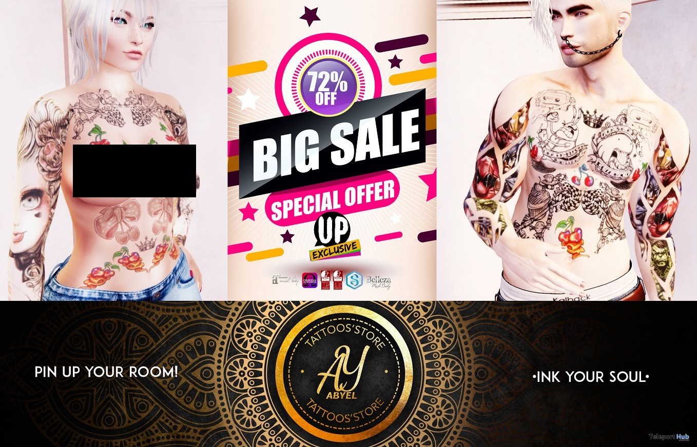 Pin Up Your Room Tattoo 70L Promo by ABYEL TATTOOS' STORE @ Up! Event April 2018 - Teleport Hub - teleporthub.com