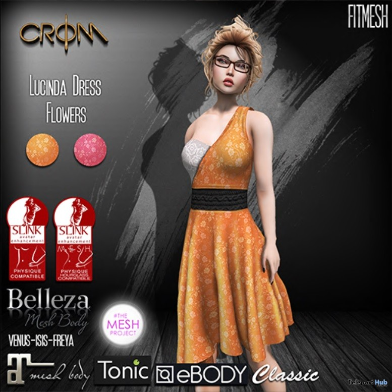 Lucinda Flowers Dress April 2018 Gift by CroM - Teleport Hub - teleporthub.com