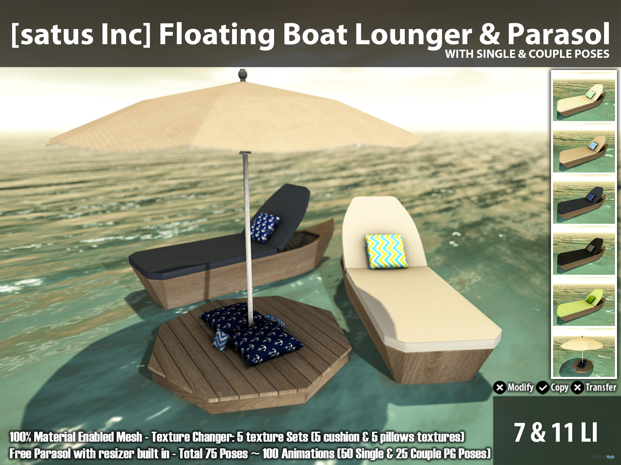 New Release: Floating Boat Lounger & Parasol by [satus Inc] - Teleport Hub - teleporthub.com