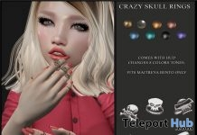 Crazy Skull Rings Fatpack For Maitreya Bento Hands May 2018 Group Gift by Candy Crunchers - Teleport Hub - teleporthub.com