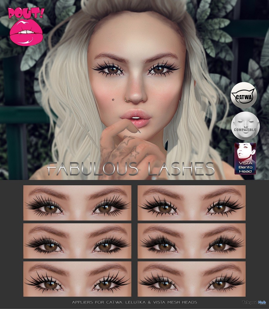 Fabulous Lashes May 2018 Group Gift by POUT! - Teleport Hub - teleporthub.com