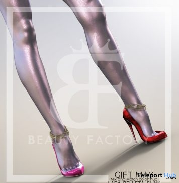 High Heels With Chains & Mix Match Color HUD May 2018 Group Gift by Beauty Factory - Teleport Hub - teleporthub.com