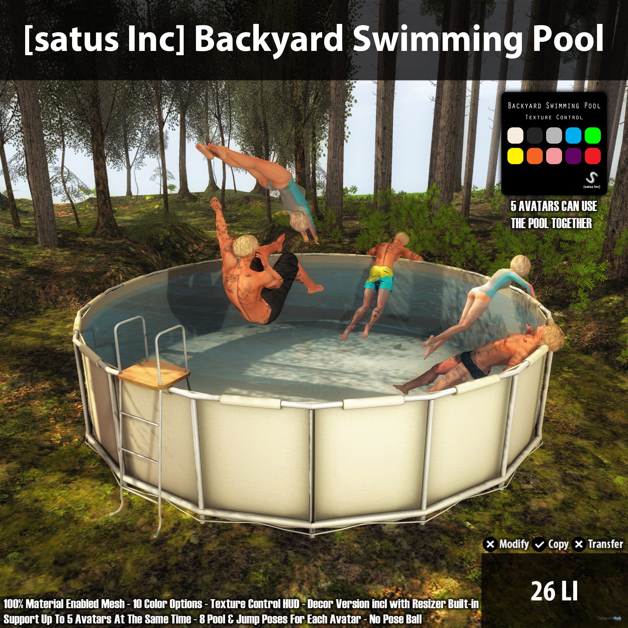 New release backyard swimming pool by satus inc for Latest swimming pool