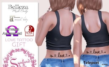 Love Tattoo Lower Back Tattoo June 2018 Group Gift by Synford Style - Teleport Hub - teleporthub.com