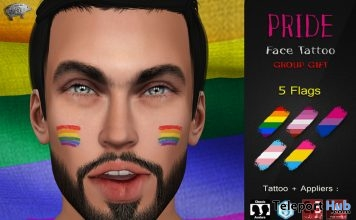 Pride Face Tattoo June 2018 Group Gift by Mad' - Teleport Hub - teleporthub.com