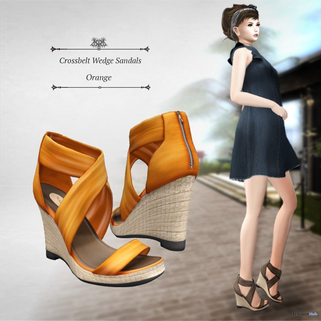 Crossbelt Wedge Sandals June 2018 Group Gift by S@BBiA - Teleport Hub - teleporthub.com