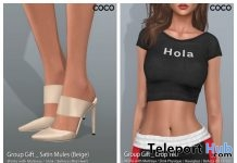 Hola Crop Tee & Satin Mules Beige June 2018 Group Gift by COCO Designs - Teleport Hub - teleporthub.com