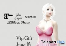 Ribbon Pink Dress June 2018 Group Gift by Star Sugar - Teleport Hub - teleporthub.com