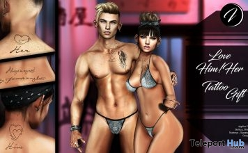 Love Him Love Her Tattoo July 2018 Group Gift by INKer - Teleport Hub - teleporthub.com