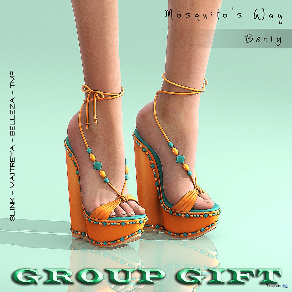 Betty Wedges Shoes July 2018 Group Gift by Mosquito's Way - Teleport Hub - teleporthub.com