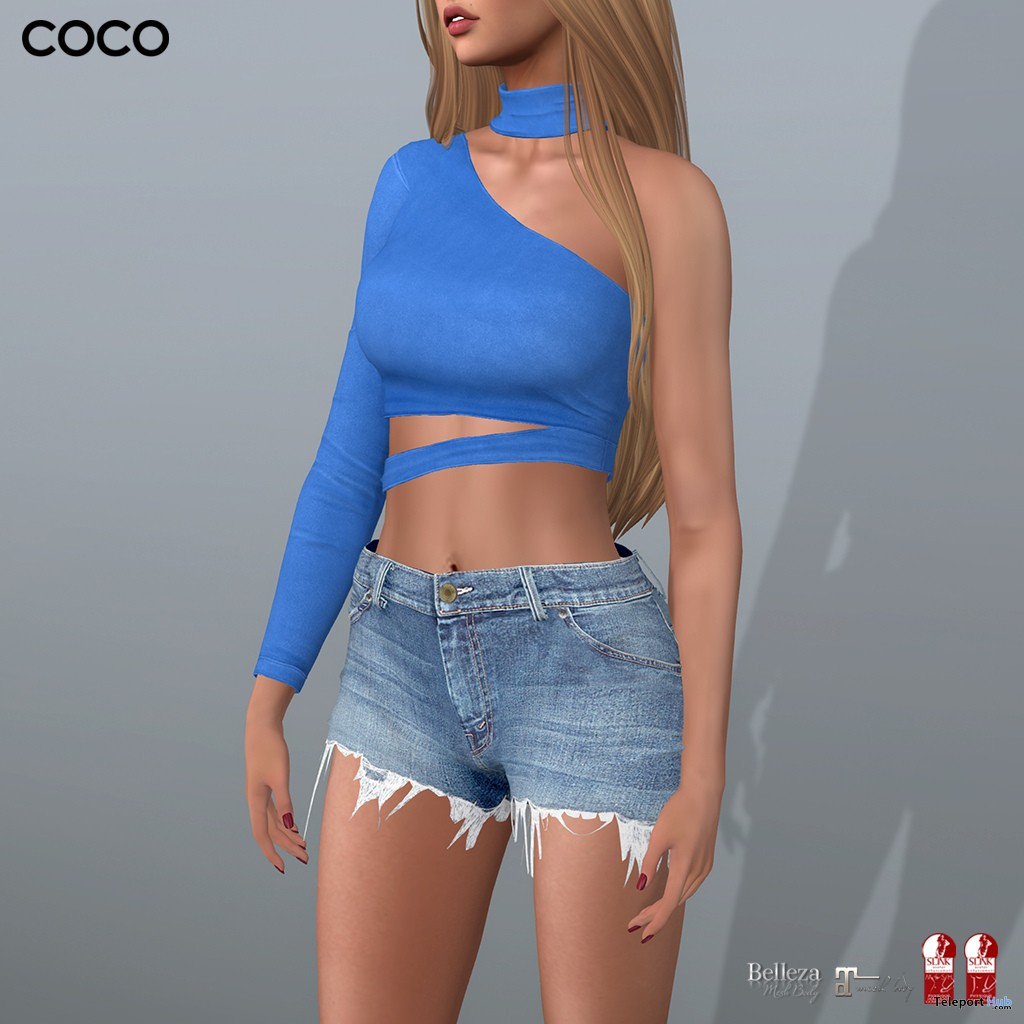 One Shoulder Top & Choker Blue July 2018 Group Gift by COCO Designs - Teleport Hub - teleporthub.com