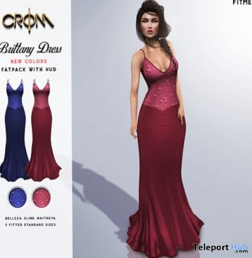 Brittany Dress Pink & Blue July 2018 Gift by CroM - Teleport Hub - teleporthub.com