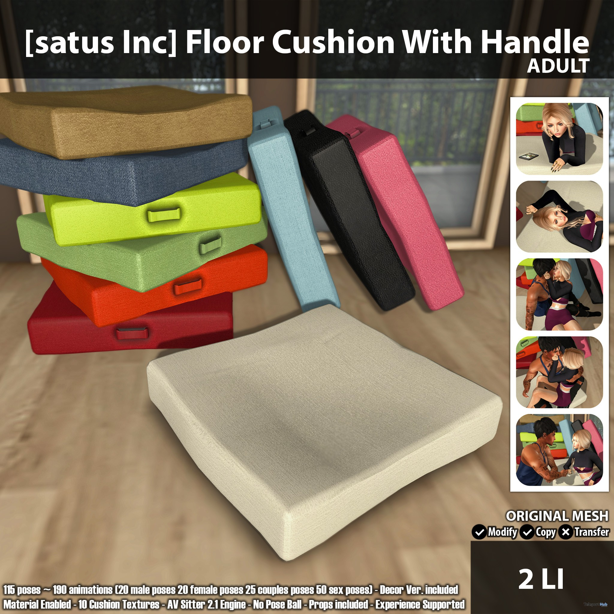 satus Inc Floor Cushion With Handle Adult Ad - New Launch: Ground Cushion With Deal with Grownup & PG by [satus Inc]