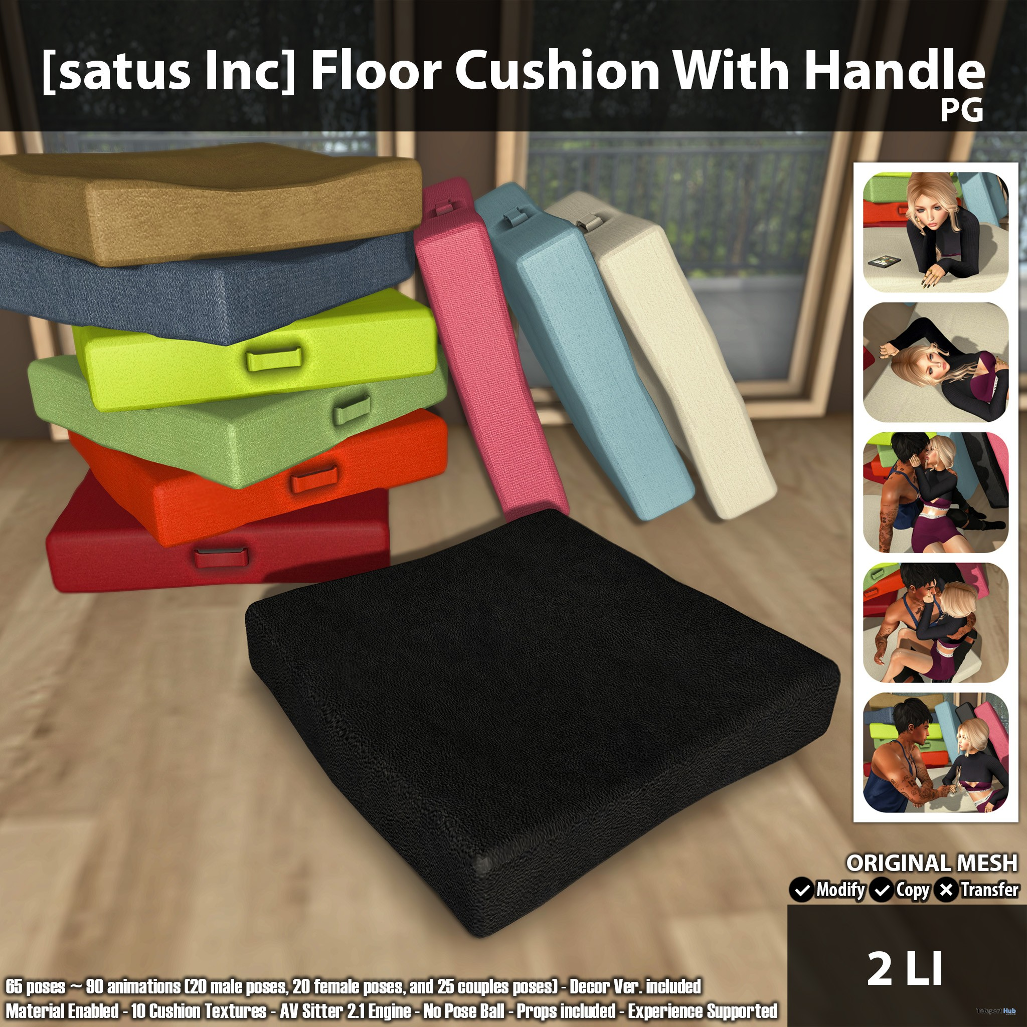 satus Inc Floor Cushion With Handle PG Ad - New Launch: Ground Cushion With Deal with Grownup & PG by [satus Inc]