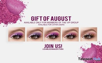 Eyeshadows For Catwa Head August 2018 Group Gift by Lisa Walker Makeup - Teleport Hub - teleporthub.com
