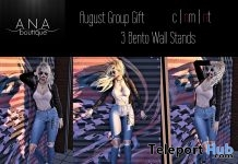 Three Bento Wall Stands Poses August 2018 Group Gift by Ana Boutique - Teleport Hub - teleporthub.com