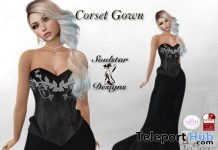 Black Corset Gown With Silver Ivy Design 75L Promo by Soulstar Designs - Teleport Hub - teleporthub.com