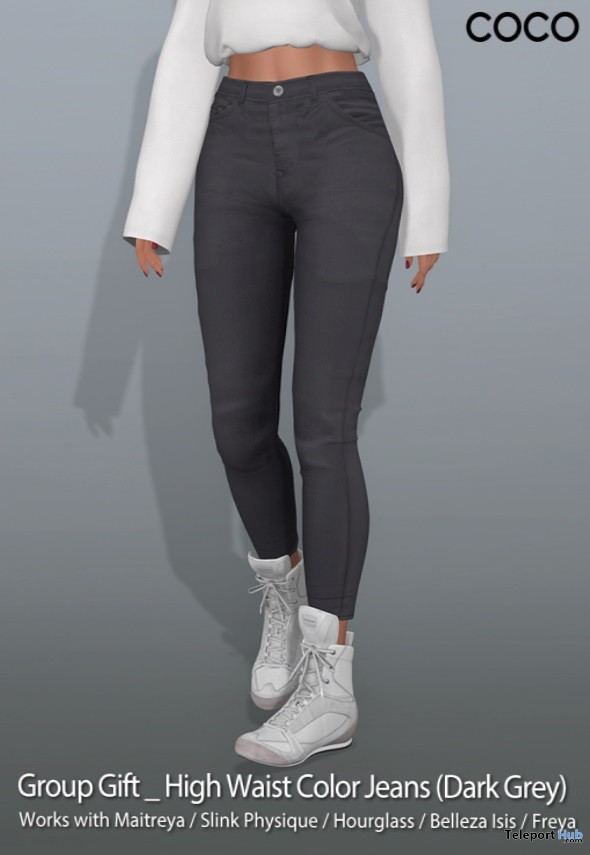 High Waist Color Jeans Dark Grey September 2018 Group Gift by COCO Designs - Teleport Hub - teleporthub.com