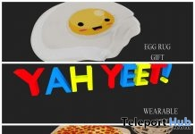 Pizza Night Decor, Egg Rug, & Yah Yeet Sign September 2018 Group Gift by Candy Crunchers - Teleport Hub - teleporthub.com