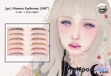 Himena Eyebrows October 2018 Group Gift by petit chambre - Teleport Hub - teleporthub.com