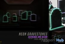 Neon Gravestones Skybox & Decor October 2018 Group Gift by %anxiety - Teleport Hub - teleporthub.com