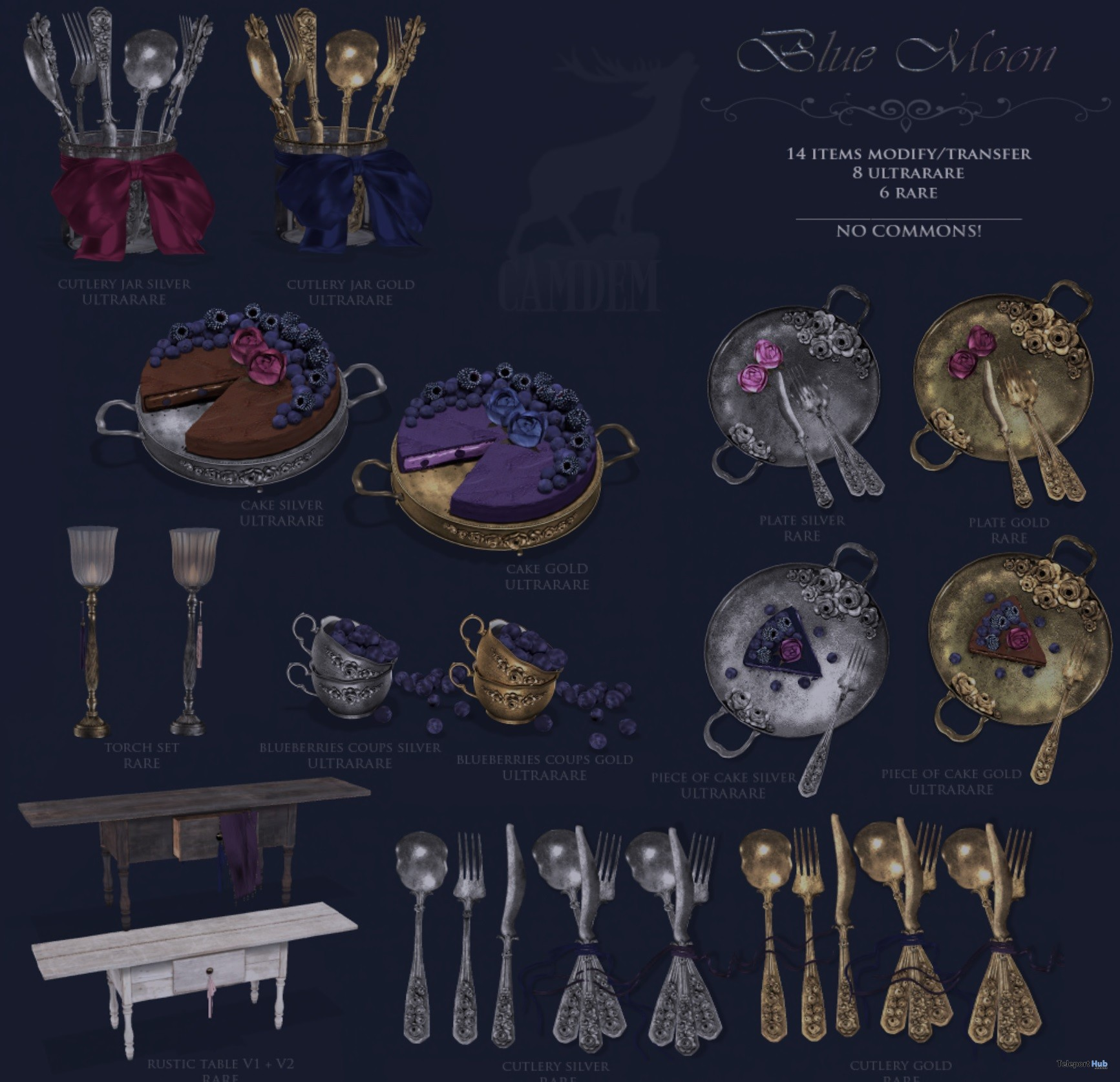 New Release: Blue Moon Dining Gacha Set by Camdem - Teleport Hub - teleporthub.com
