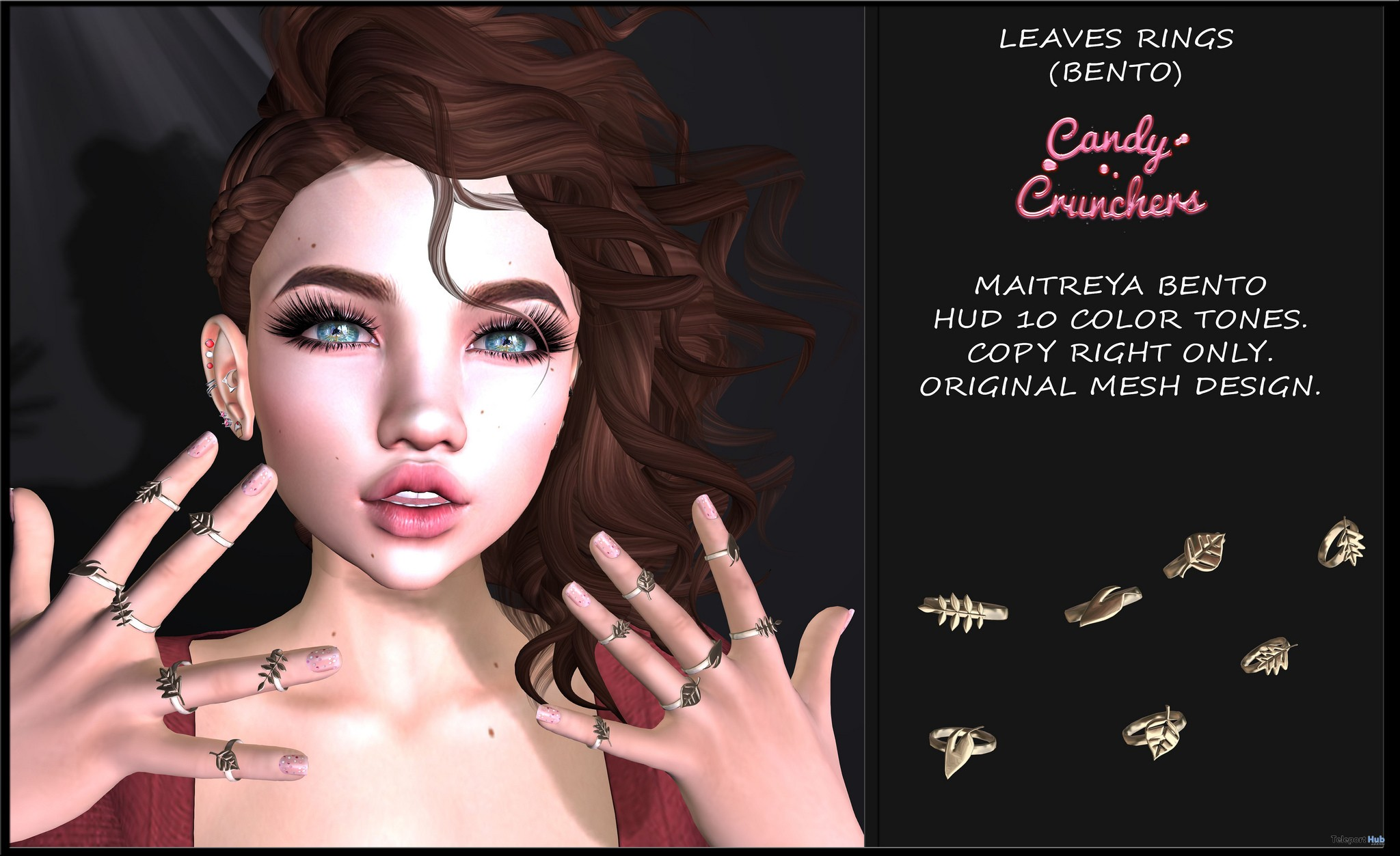 Leaves Rings With HUD November 2018 Group Gift by Candy Crunchers - Teleport Hub - teleporthub.com