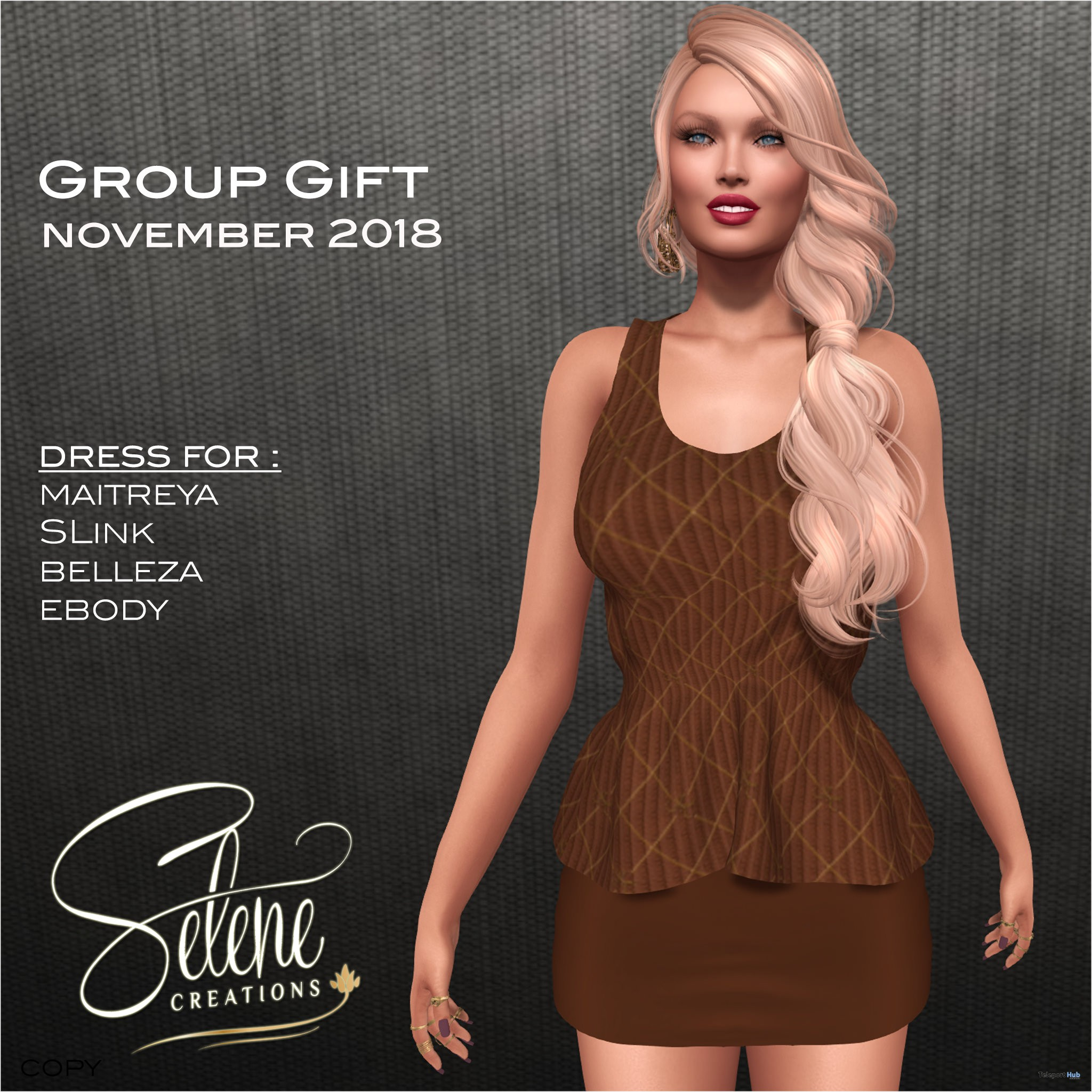 Brown Dress November 2018 Group Gift by Selene Creations - Teleport Hub - teleporthub.com