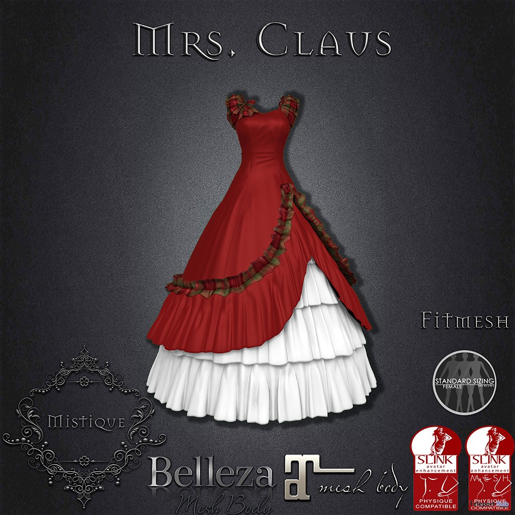 Mrs. Claus Dress December 2018 Group Gift by Mistique - Teleport Hub - teleporthub.com
