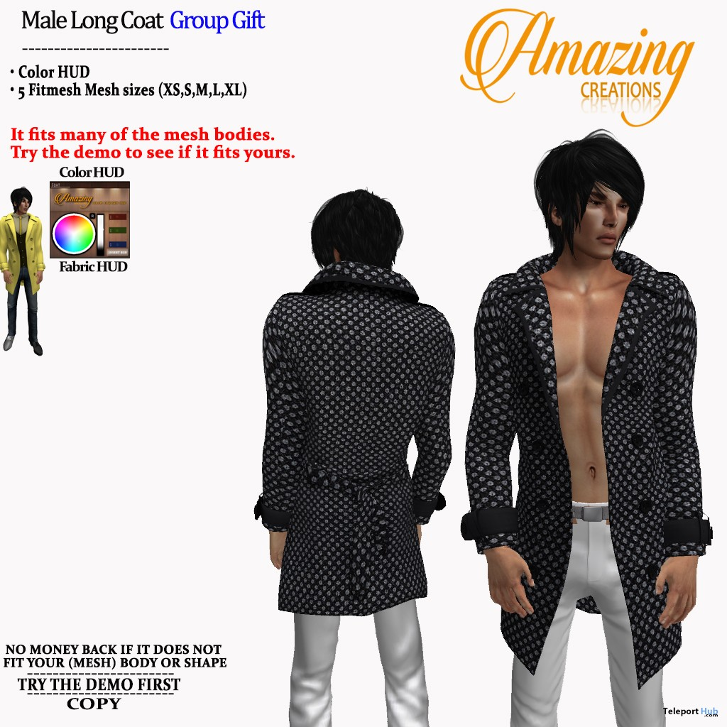 Long Coat For Men November 2018 Group Gift by AmAzIng CrEaTiOnS - Teleport Hub - teleporthub.com