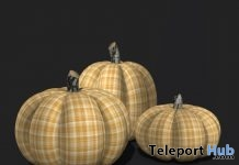 Plaid Fabric Pumpkins In Sunshine Yellow November 2018 Group Gift by Pomegranate - Teleport Hub - teleporthub.com