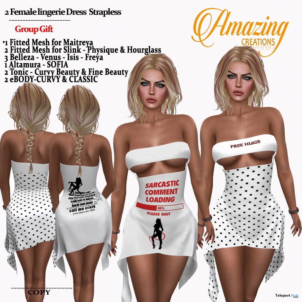 Lingerie Strapless Dress November 2018 Group Gift by AmAzIng CrEaTiOnS - Teleport Hub - teleporthub.com