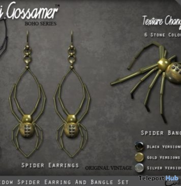 Black Widow Spider Earrings & Bangle Set Group Gift by Maxi Gossamer - Teleport Hub - teleporthub.com