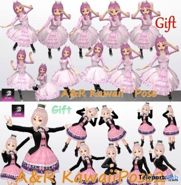 Kawaii Cute Poses Pack 1 & 2 November 2018 Gift by A&R Haven - Teleport Hub - teleporthub.com