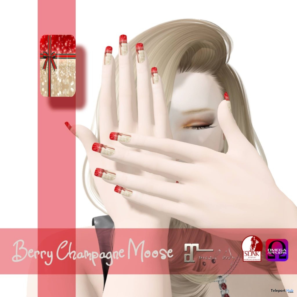 Berry Champagne Moose Maitreya Nail Applier December 2018 Group Gift by Oola Messia - Teleport Hub - teleporthub.com