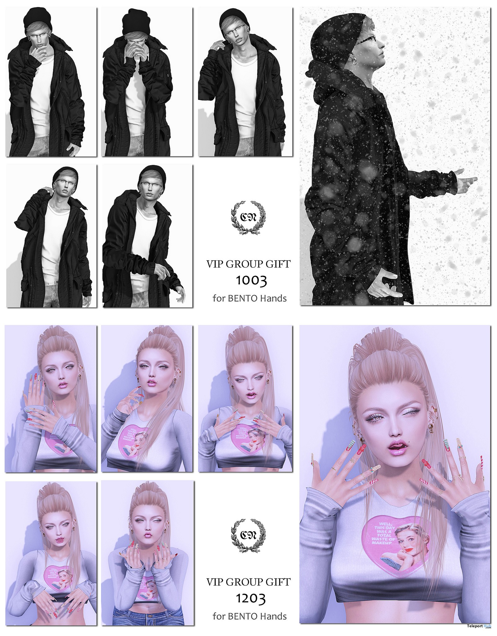 Bento Pose Pack 1003 & 1203 For Male & Female December 2018 Group Gift by CHAT NOIR - Teleport Hub - teleporthub.com