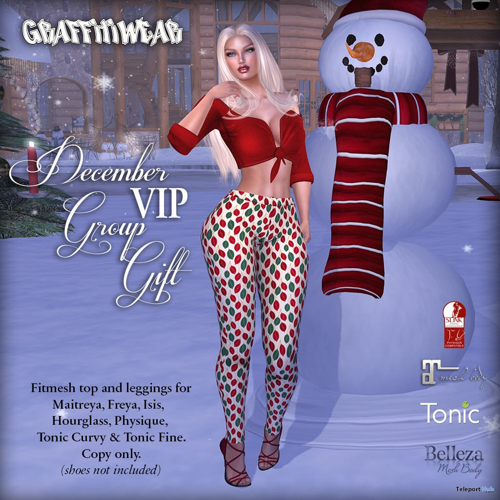 XMas Top & Leggings December 2018 Group Gift by Graffitiwear - Teleport Hub - teleporthub.com