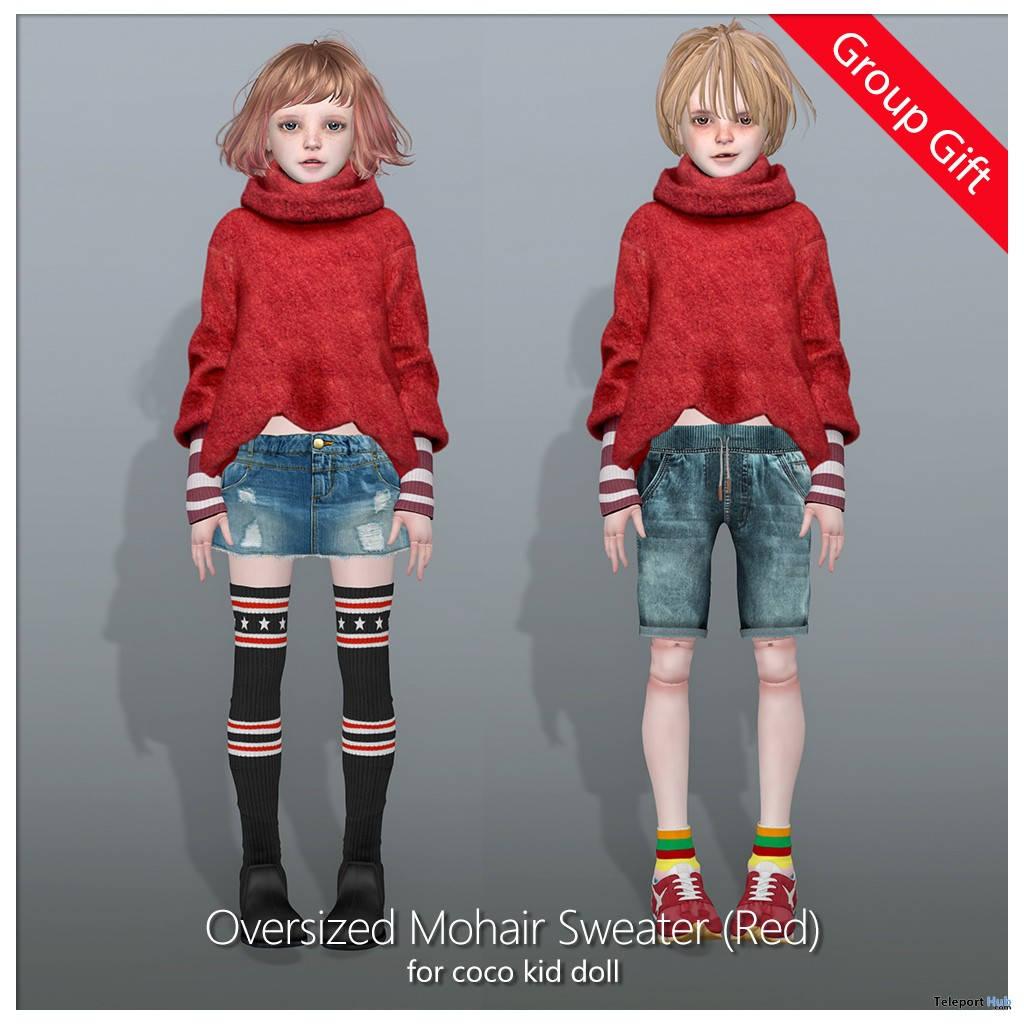 Oversized Mohair Sweater Red For Kid Doll Avatar December 2018 Group Gift by COCO Designs - Teleport Hub - teleporthub.com