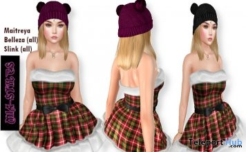 Santa Dress & Pompom Hair December 2018 Group Gift by Mia Styles - Teleport Hub - teleporthub.com