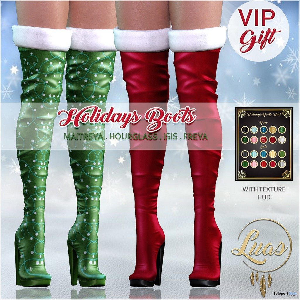 Holidays Boots Fatpack December 2018 Group Gift by Luas - Teleport Hub - teleporthub.com