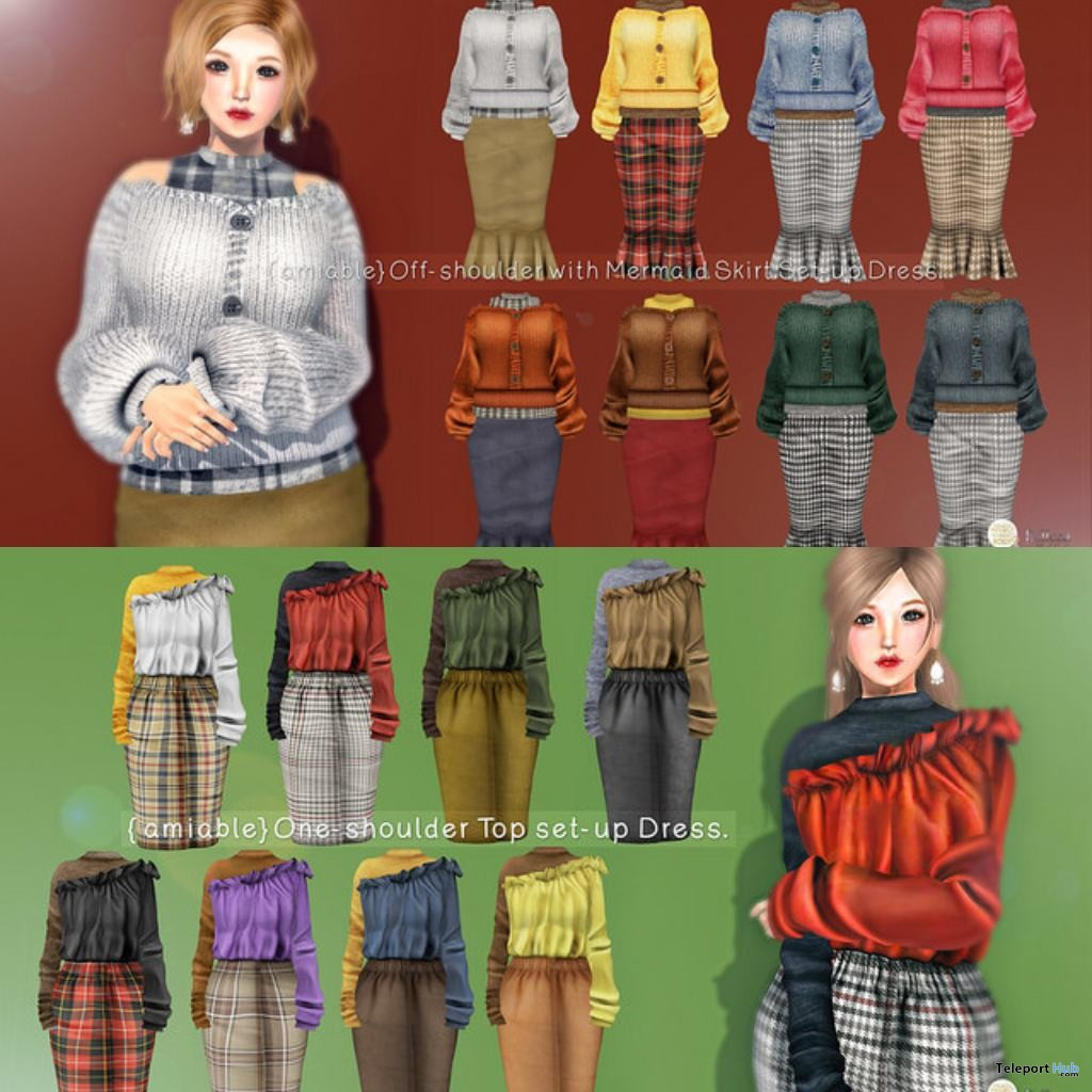New Release: Off-shoulder With Marmaid Skirt & One-shoulder Top Set-up Dress Promo by {amiable} - Teleport Hub - teleporthub.com