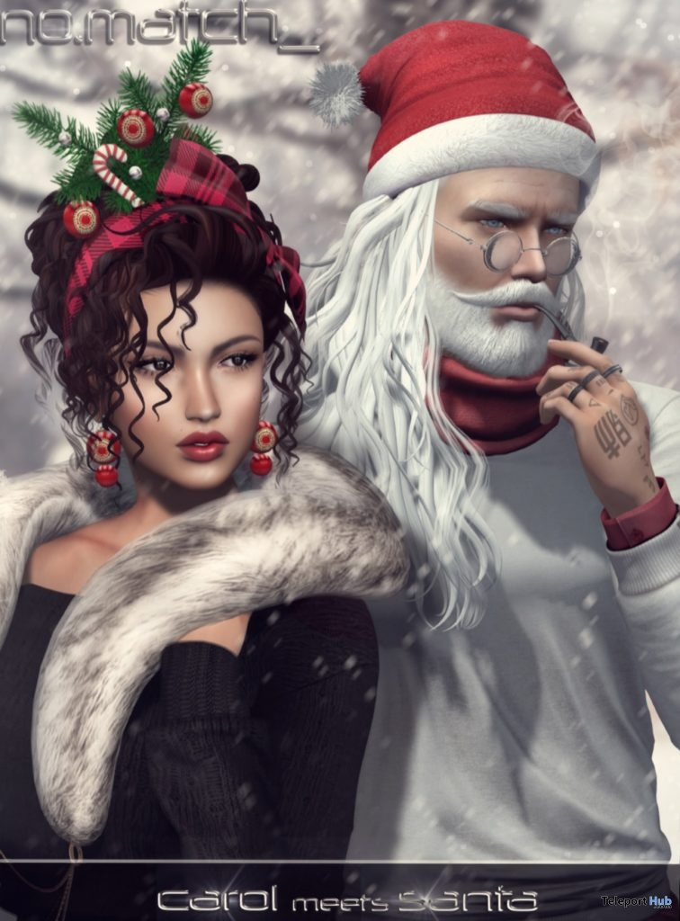 Carol Meets Santa Hair December 2018 Group Gift by No Match - Teleport Hub - teleporthub.com