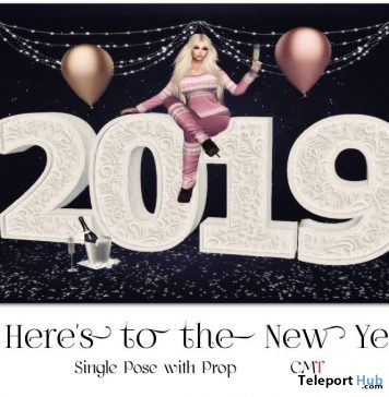Here's To The New Year Single Female Pose With Backdrop January 2019 Gift by Something New - Teleport Hub - teleporthub.com