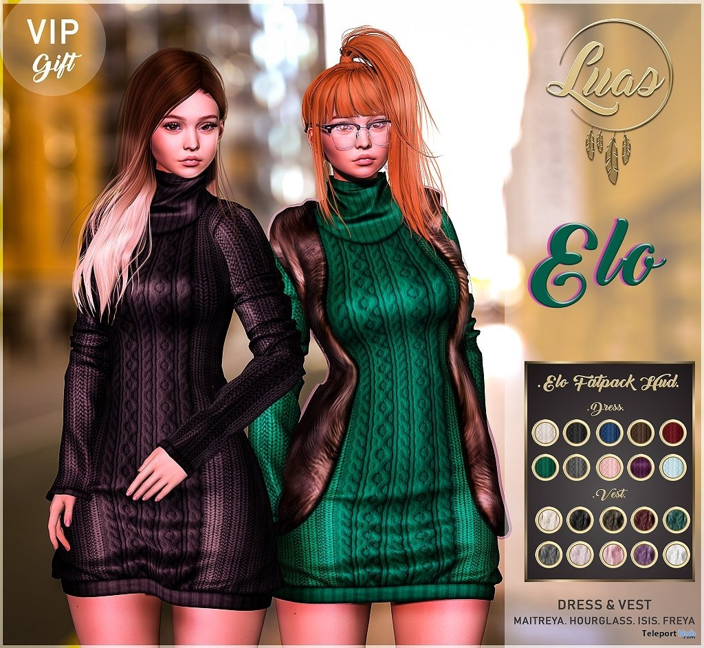 Elo Dress Fatpack January 2019 Group Gift by Luas - Teleport Hub - teleporthub.com
