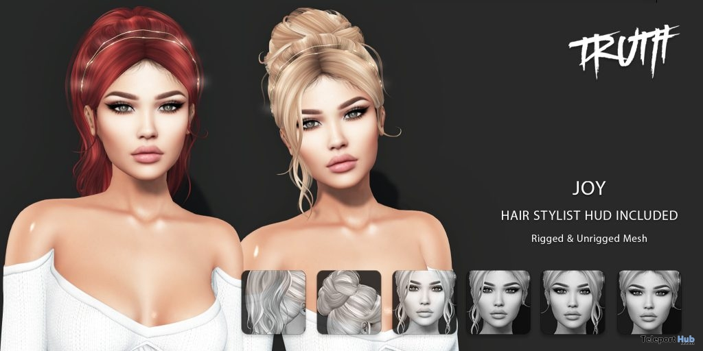 Joy Hair Fatpack With Style HUD Group Gift by TRUTH HAIR - Teleport Hub - teleporthub.com
