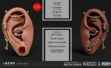 Rose & Key Mesh Ears January 2019 Group Gift by Le gene - Teleport Hub - teleporthub.com