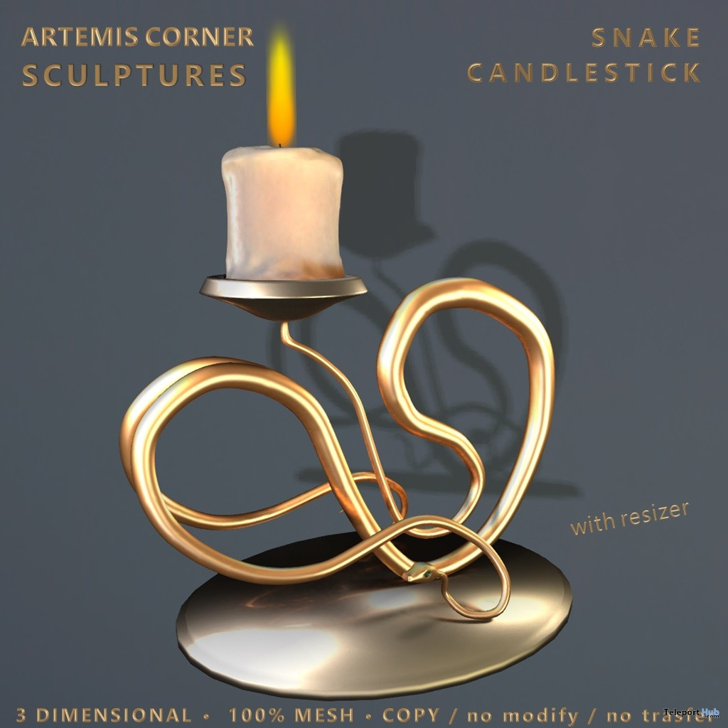 Snake Candlestick January 2019 Group Gift by Artemis Corner Sculptures - Teleport Hub - teleporthub.com