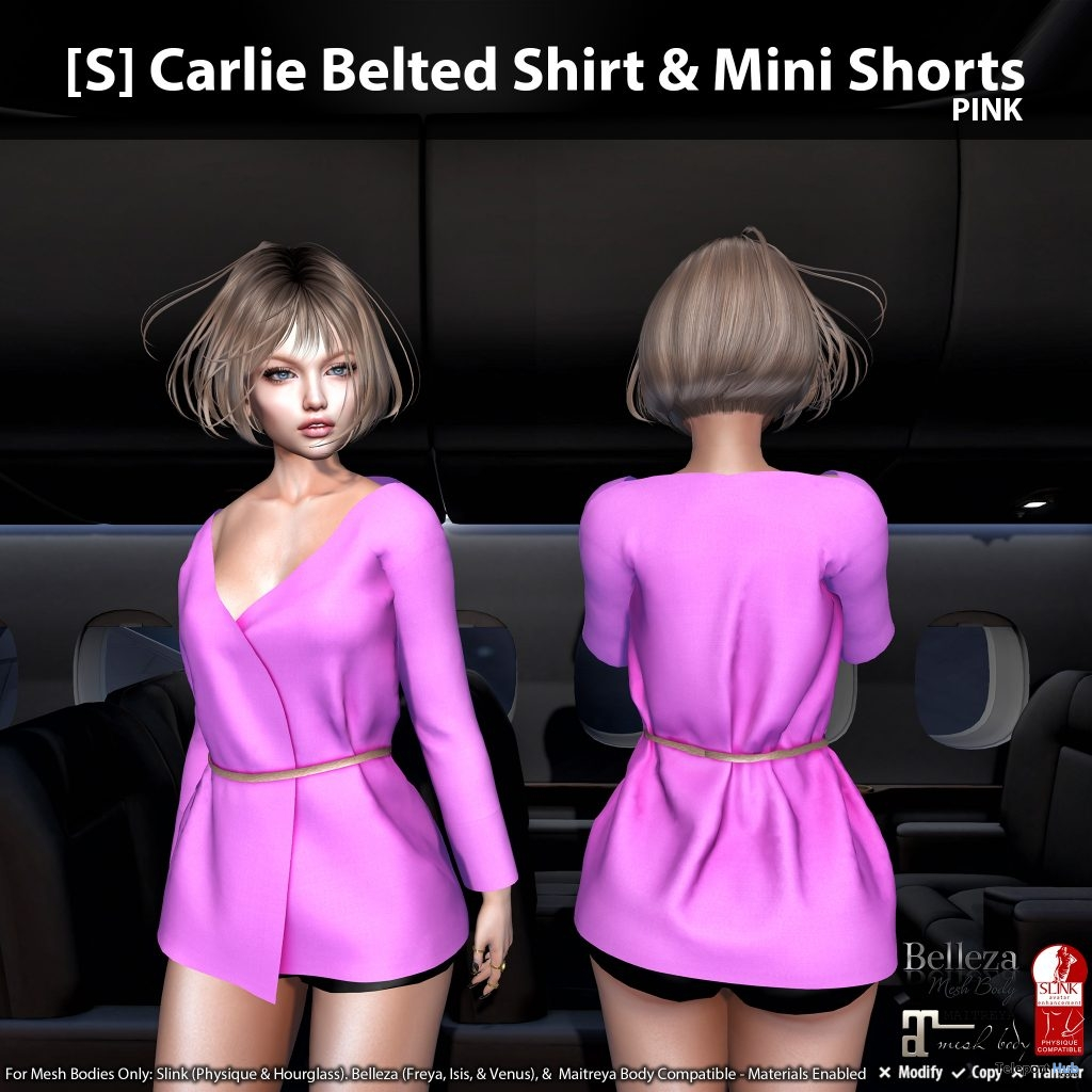 New Release: [S] Carlie Belted Shirt & Mini Shorts by [satus Inc]- Teleport Hub - teleporthub.com