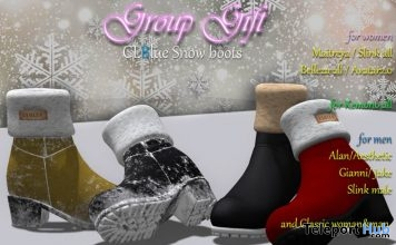 Snow Boots Unisex & Leather Top Black January 2019 Group Gift by CLBlue - Teleport Hub - teleporthub.com